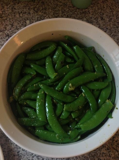 Snap Peas with Basil Pesto